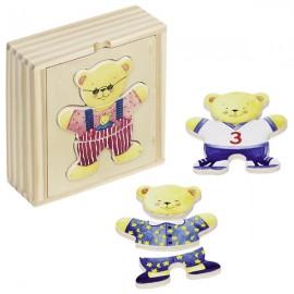GOKI koka puzle kastītē - Apģērb lācīti