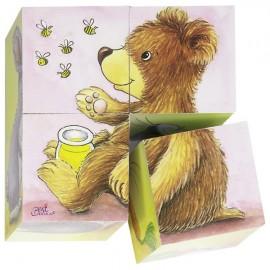 GOKI koka kubu puzle - dzīvnieku mazuļi
