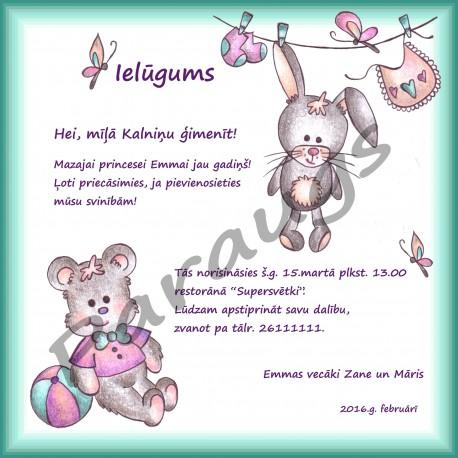 Elektroniskais ielūgums, e-kartiņa - zīmēts, dažādiem bērnu svētkiem
