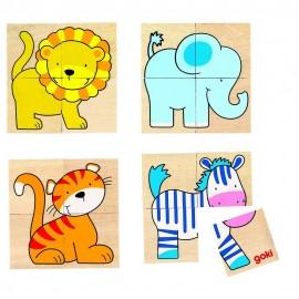 GOKI koka puzle/atmiņas spēle - savvaļas dzīvnieki