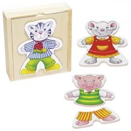 GOKI koka puzle kastītē - Dzīvnieku apģērbšana
