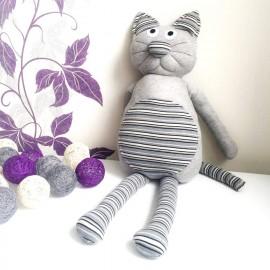 Kaķis Leopolds - ar rokām darināts, pelēks, 73 cm garš