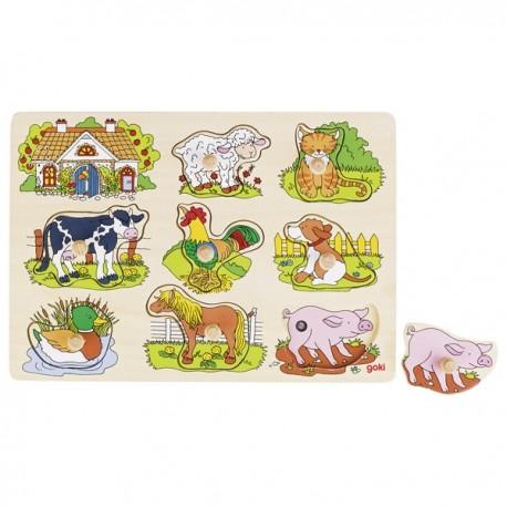 GOKI muzikālā koka puzle ar dzīvnieku skaņām