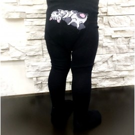 Bērnu biezās zeķubikses melnas ar zvēriņiem uz dupša, 92-98 izmērs