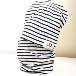 Cepure un apaļšalle - komplekts, Balts ar melnām svītrām