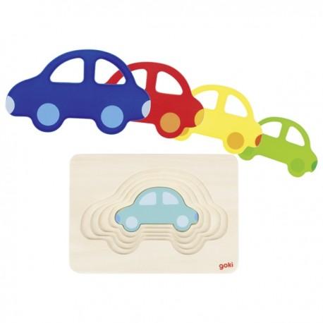 GOKI koka 5 slāņu puzle - mašīnīte uz mašīnītes