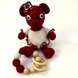 Patriotisks, tamborēts jaundzimušā komplektiņš - graužamriņķis un lāču mamma (lielais)
