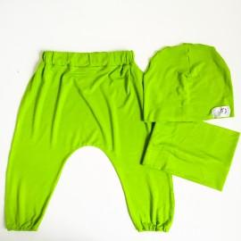 Komplekts (80.izmērs) - Harembikses, cepurīte un apaļšalle, zaļš