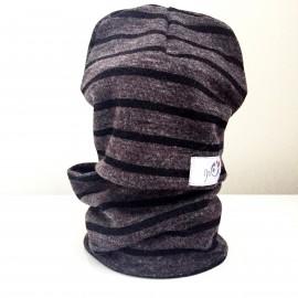 Cepure un apaļšalle - komplekts, pelēka ar melnām strīpām