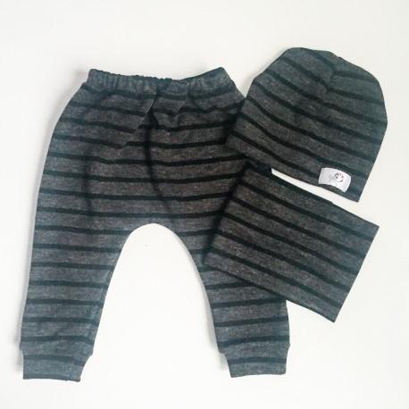 Komplekts (80.izmērs) - Harembikses un siekalu lupatiņa bērniem tumši zilas ar enkuriem