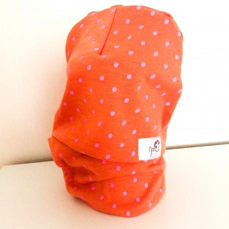 Cepure un apaļšalle - komplekts, Oranžs ar punktiņiem