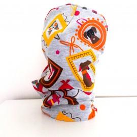 Cepure un apaļšalle - komplekts, pelēks ar sunīšiem