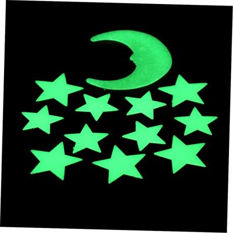 Флуоресцентныe 11 звезды и луна